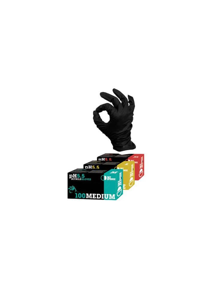 GLOVES BLACK NITRILE MEDIUM - 100 / BOX